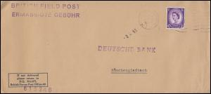 Feldpost BRITISH FIELD POST H.Q. NAAFI in Deutschland Brief F.P.O. 2.4.1963