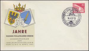 Privatumschlag PU 18/2 Philatelistenverein Essen, passender SSt ESSEN 14.4.1957