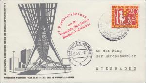 1. Postbeförderung mit der Wuppertaler Schwebebahn Barmen-Vohwinkel 10.5.1961