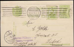 Rumänien Postkarte P 50 mit Zusatzfr. BUKAREST 6.11.1908 nach LÜBECK 9.11.08