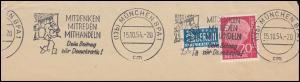 Werbestempel: Mitdenken, Mitreden, Mithandeln MÜNCHEN 15.10.1954 auf Briefstück