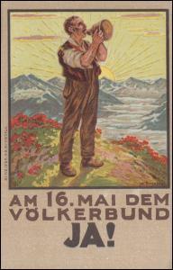 Schweiz: Ansichtskarte Volksabstimmung über Beitritt zum Völkerbund, ungebraucht