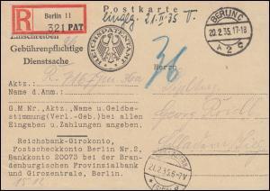 Gebührenpflichtige Dienstsache Reichspatentamt R-Postkarte BERLIN 20.2.1935
