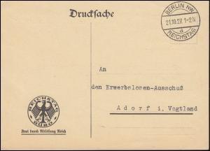 Frei durch Ablösung Reichstag Büro Drucksache BERLIN REICHSTAG 21.10.1927