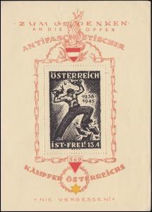 Vignetten-Gedenkblock: Opfer Antifaschistischer Kämpfer Österreichs 1938-1945