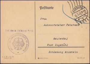 Frei laut Ablösung Deutsche Gesandtschaft in Bogota Postkarte HAMBURG 20.3.1929