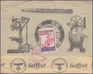 Norwegen: Deutsche Zensur 288 Grieg als EF auf Auslandsbrief TRONDHEIM 21.7.43