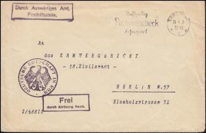 Frei durch Ablösung Deutsche Botschaft Rom Bf. BERLIN 20.4. an das Kammergericht