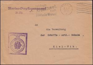 Frei durch Ablösung Reichsmarine-Verpflegungsamt KIEL 8.5.1933 als Orts-Brief