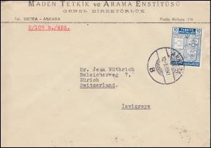 1077 Gründung des Balkan-Bundes 10 Ks. EF auf Brief ANKARA 12.3.1941 nach Zürich