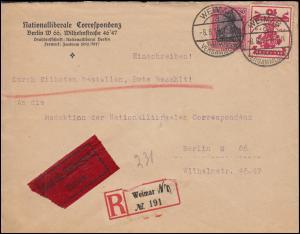 107 Nationalversammlung + Germania 80 Pf. Eil-R-Brief WEIMAR 8.8.19 nach Berlin