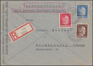 Deutsche Dienstpost Ostland 7+8+11 MiF R-Brief LIDA 16.2.1942 nach Delmenhorst