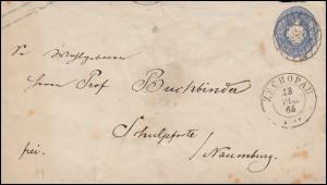 Sachsen Umschlag U 17A Nummernstempel ZSCHOPAU 13.12.1865 nach Naumburg