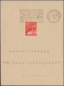 SSt 100 Tage Luftbrücke: Luftbrückenstempel BERLIN-CHARLOTTENBURG 1.10.48