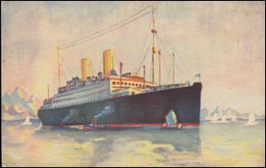 Deutsch-Amerikanische-Seepost BREMEN-NEW YORK 31.8.1927 auf  AK Dampfer Berlin
