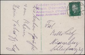 Kinderrepublik Rhein (Namedy) ANDERNACH 14.8.1929 auf AK Namedy-Sprudel