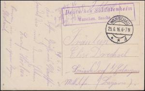 Feldpost Deutsches Soldatenheim WARSCHAU 29.6.1916 auf AK Denkmal Zygmunta