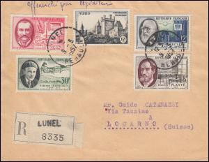 Frankreich 1124-1127 Erfinder und Wissenschaftler + 1128 R-Brief LUNEL 5.5.57