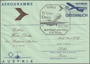 Österreich Aerogramm Luftpost-Faltbrief LF 19 mit SSt Erstflug Wien-Doha 6.5.82
