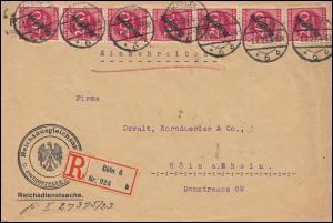 58 Dienstmarke MeF Reichsdienstsache Reichsausgleichsamt R-Brief KÖLN 1.8.1923