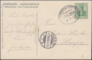 Bahnpost MG-Dortmund ZUG 285 - 6.9.1905 nach HASPE 7.9.05 auf AK Essen