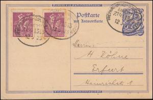 Bahnpost FREIBURG (BREISGAU) - DONAUESCHINGEN ZUG 1543 - 12.5.1923 auf P 147F+ZF