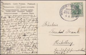 Bahnpost WERTHEIM-MERGENTHEIM ZUG 528 - 4.6.1907 auf AK Frühling auf dem Lande