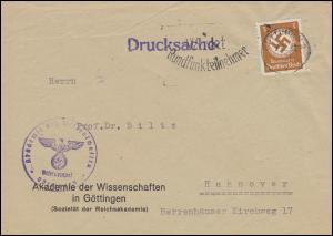 Orts-Drucksache Akademie der Wissenschaften in GÖTTINGEN 7.12.1943 nach Hannover