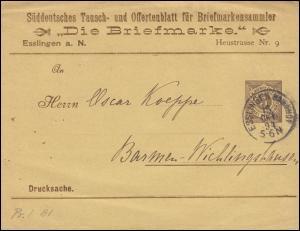 Württemberg PS 2 Streifband Die Briefmarke ESSLINGEN-BAHNHOF 15.10.1894