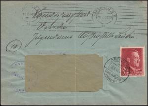 78 Freimarke EF Brief WARSCHAU 16.5.44 BS Bahndirektion an das Jugendamt Guben