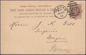Großbritannien Postkarte P 18 Königin Viktoria DUP OLDHAM 59 - 27.1.1891