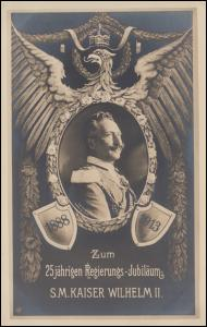Gedenkpostkarte 25jähriges Regierungs-Jubiläum S.M. Kaiser Wilhelm II, blanko