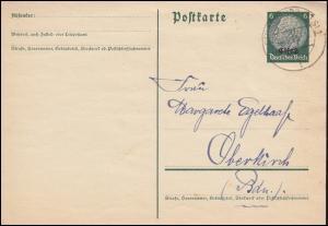 Elsaß Postkarte P 2 Hindenburg mit Aufdruck STRASSBURG 24.3.1941 nach Oberkirch