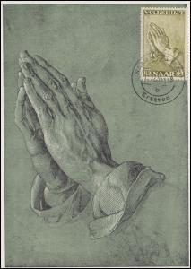 366 Volkshilfe Gemälde Dürer: Betende Hände, Maximumkarte SAARBRÜCKEN 1.12.1955