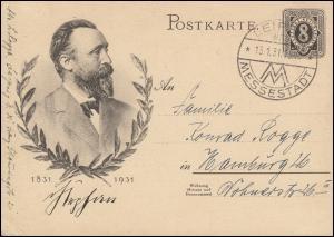 Sonderpostkarte P 211 Heinrich von Stephan SSt LEIPZIG MESSESTADT 13.1.1931