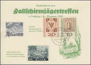 Gedenkkarte zum Fallschirmjägertreffen Freiburg in Breisgau Pfingsten 1959