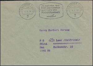 Postscheckamt-Stempel HANNOVER 4.1.62 zuschlagfrei Nachtluftpostnetz auf Brief