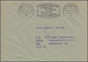 Postscheckamt-Stempel HANNOVER 29.12.61 Nachtluftpost zuschlagfrei ... auf Brief