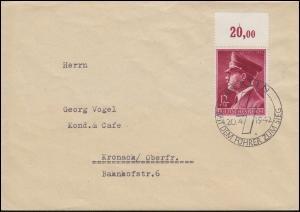 813 Geburtstag 1942 mit Oberrand EF Brief SSt BERLIN Mit dem Führer ... 20.4.42