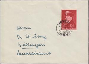 772 Geburtstag EF auf Brief ENTRINGEN über HERRENBERG 20.4.1941 nach Böblingen
