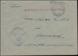 Deutsche Dienstpost Böhmen-Mähren 21.1.1941 BS Inf.-Ers.-Batl. 302 als Feldpost
