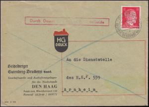 Deutsche Dienstpost Niederlande DEN HAAG 21.10.43 mit 827 EF Brief nach Arnheim