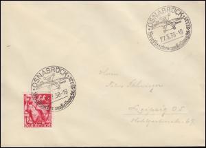 661 Jahrestag EF Brief mit SSt OSNABRÜCK Ausstellung Flugzeug Tweer 27.3.38