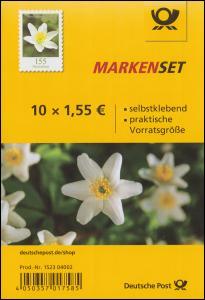 FB 91a Blume Buschwindröschen, Folienblatt mit 10x 3484, postfrisch **