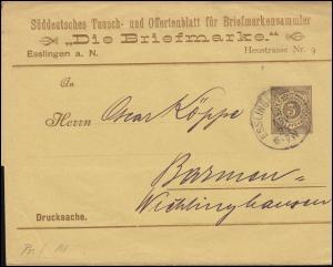 Württemberg PS 2 Streifband Die Briefmarke ESSLINGEN-BAHNHOF 14.11.1894