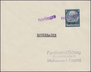 Elsaß 2 Hindenburg 4 Pf mit Aufdruck Drucksache mit Landpost-Stempel Hirsingen