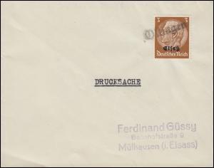 Elsaß 1 Hindenburg 3 Pf mit Aufdruck Drucksache mit Landpost-Stempel Oltingen