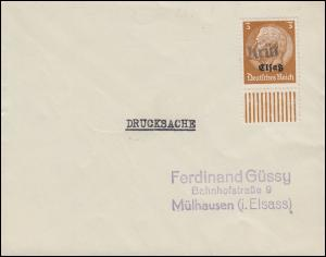 Elsaß 1 Hindenburg 3 Pf mit Aufdruck auf Drucksache mit Landpost-Stempel Krüt