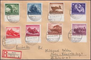 872ff Tag der Wehrmacht: 8 Werte mit UR Orts-R-Bf BERLIN-CHARLOTTENBURG 28.3.44