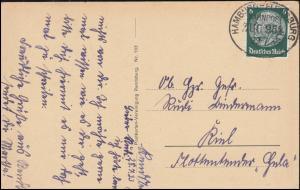 Bahnpost HAMBURG-FLENSBURG ZUG 954 - 29.7.1933 auf AK Lotsenstation Rendsburg